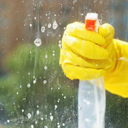 soapy detergent on window glass
